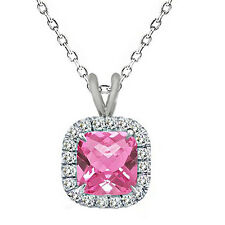 7mm Cushion Cut Pink Topaz Birth Gem stone Silver Halo Pendant Necklace 18 Chain
