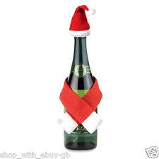 4x bottiglia di vino Natale Babbo Natale Sciarpa e Cappello-Calze Filler Decorazione Topper
