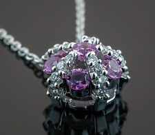 Gregg Ruth 18K White Gold Diamonds and Pink Tourmaline Pendant with 14k wg Chain