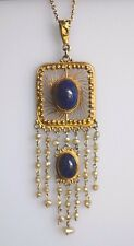 Fine Antique Edwardian Pearl Lapis Lazuli 14K Gold Filigree Lavalier Necklace