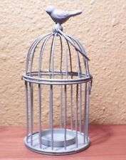 """Hanging Birdcage Candle Holder Heavy Metal Light Green with Bird NWOT 7"""" x 3.5"""""""