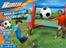 Banzai Mega All-Star Soccer Set with Inflatable Soccer Goal Net and Ball NEW!