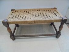 Vintage long double rattan stool, natural hessian string woven seat, bench
