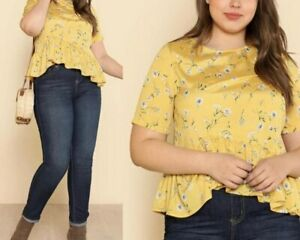 Plus size  yellow floral blouse