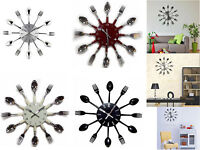 Modern Cutlery Retro Wall Clock Fork & Spoon Kitchen Home Office Decoration New
