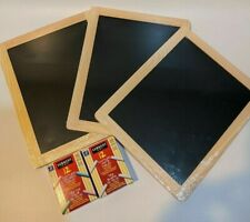 "Lot of 3 Framed Chalkboards 8.5"" x 10.5"" and 2 Boxes of Chalk"