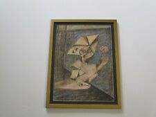FAVS SIGNED MID CENTURY MODERN DRAWING ABSTRACT CUBIST CUBISM PORTRAIT VINTAGE