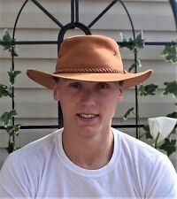 Vintage Light Brown Leather Australian Outback Hat Braided Leather Hatband L/XL