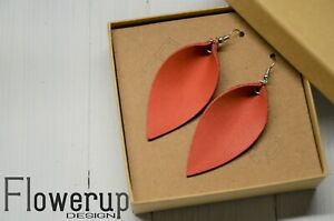 Handmade lightweight coral real leather statement boho earrings