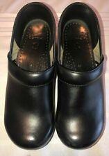 Dansko Size 38 US 9.5 10 Womens Clogs Black Leather Shoes