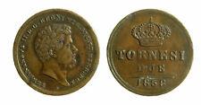 s294_3)  Napoli Regno delle Due Sicilie Ferdinando II 2 Tornesi 1858 Ribattitura