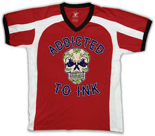 Addicted To Ink Skull Tattoo Artist Gun Flowers Hearts Am Men's V-Neck Sport Tee