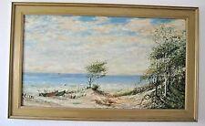 Öl Bild Strand Nord Baum See Boote Dünen Leinwand Holzrahmen 61x100 Landschaft