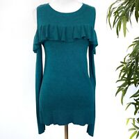 A New Day Womens Size Small Cold Shoulder Ruffle Teal Sweater