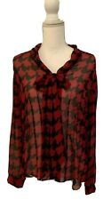 Tahari Red Black Abstract Pattern Semi-Sheer Tie Neck Blouse Career Casual Lg