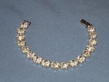 Vintage Signed WEISS Silver-Tone metal Claw Set Clear Rhinestone Bracelet