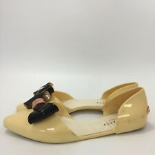 Ted Baker Slip On Shoes Womens Size 5 Cream Black Bow Casual Pointed Toe 271642