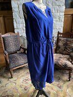 Royal Cobalt Blue Eyelet Lace Sleeveless V-Neck Summer Dress Cool Cotton  XL