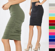 S-XL Casual High Waist Ruched Pencil Skirt Double Layered Stretch Cotton Knit