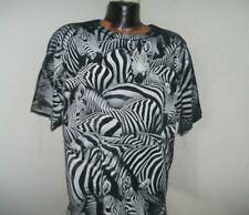 Zebras Black and White Stripes SS Cotton T Shirt Zebra Collage Front & Back XL