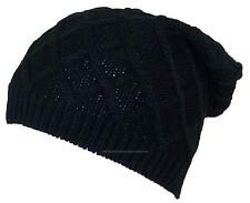 D&Y Rib Stitch Diamond Pattern Slouchy Knit Beanie, Toboggan, Snow, #846 Black
