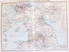 OLD ANTIQUE MAP RAILWAYS NORTHERN ENGLAND  SCOTLAND 1906 by PHILIP LONDON INSERT