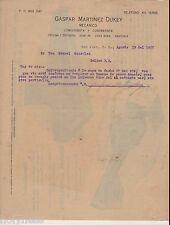 Antique Commercial Letter / Gaspar Martinez Dukey / San Juan Puerto Rico / 1917