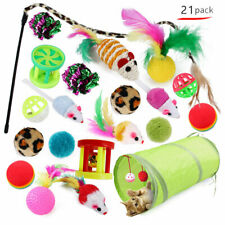 21PCS Pet Chew Play Toys Cats Supplies Kitten Rod Mouse Feathers Bells Balls