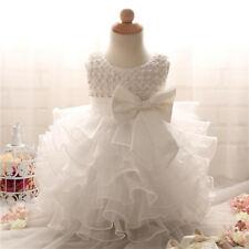 003ead391b3af Ruffle Baby Flower Girls Formal Dress Christening Wedding Party Gown  Birthday