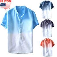 Men Stylish Linen Short Sleeve Shirt Summer Cool Loose Casual Shirts Tops M-3XL