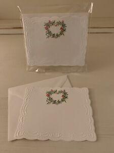 Rare Vintage Carol's Rose Garden EMBOSSED Wreath Set/10 - 4 X 5 Panel Note Cards