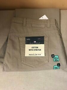 M&S BLUE HARBOUR JEANS REGULAR FIT W42 L31 COTTON WITH STRETCH TAUPE MENSWEAR