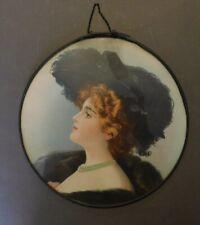 Antique Victorian Flue Cover Chromos Lithograph Tin Glass Lady Black Ostrich (F)