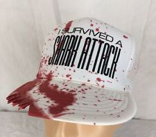 Vtg I Survived A Shark Attack Hat Snapback White Fake Blood Stain Teeth Marks