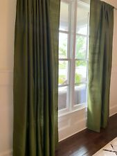 4 Pottery Barn Silk Drape Panels Pole Top 50X96 Green