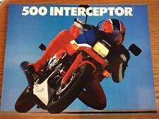 VINTAGE 1986 HONDA 500 INTERCEPTOR MOTORCYCLE SALES BROCHURE