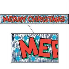 NEW Metallic Silver Merry Christmas Fringe Large  Snowflake Foil Banner (5 Ft)