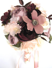 17 piece Wedding Bouquets Bridal Silk Flower ROSE GOLD Blush EGGPLANT MAUVE