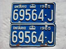 1965 ONTARIO Vintage License Plate PAIR # 69564-J
