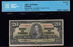 1937 Bank of Canada $20 Osborne CCCS Fine15 (BC-25a)