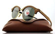 ca8afe1fa0 POLARIZED Genuine RAY-BAN CLUBROUND WOOD Classic G-15 Sunglasses RB 4246M  118158