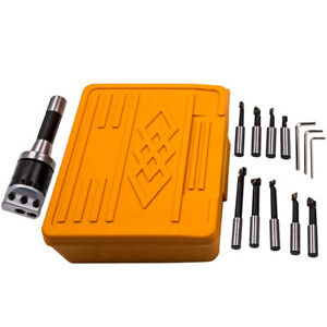 2in 50mm Boring Head Set 13Pcs 1/2'' Boring Bar Hole With R8 Shank Mill Tool Kit