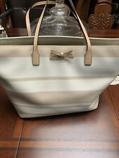 Kate Spade Tote And Wallet Cream With Tan Stripes