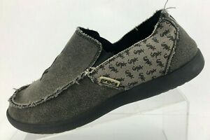 Crocs Santa Cruz Loafers Frayed Sox Gray Canvas Comfort Casual Shoes Mens US 10