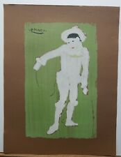 """Pablo Picasso Vintage Serigraph On Brown Paper """"White Clown"""" 26""""×20"""" 1960's"""