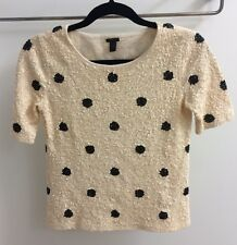 J Crew ivory black sequin polka dot tee knit short sleeve XXS