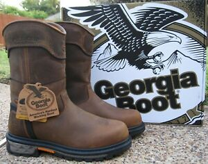 New Mens Georgia Boot Brown Leather Carbo-Tec LTX Waterproof Work Boots GB00393