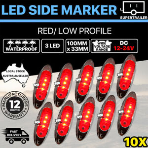 10X Red Clearance light side marker led trailer Truck LORRY LAMP Chrome 12-24V