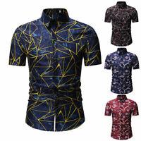 Luxury Mens Stylish Casual Dress Shirt Slim Fit T-Shirts Formal Short Sleeve HOT