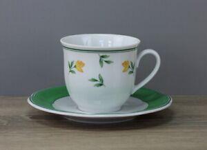 TCM Blumendekor gelb grün Kaffeetasse Tasse mit Untertasse Unterteller
